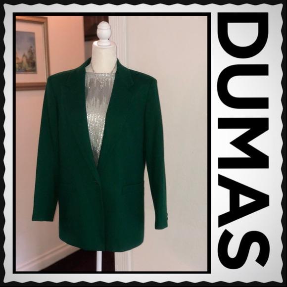 Dumas Jackets Coats Vintage Women Lined Dark Green Wool Blazer